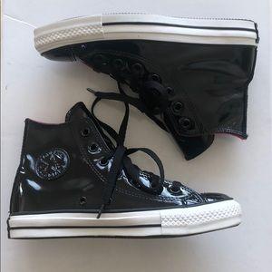 Black patent leather Converse Chuck Taylor